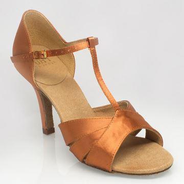 "Picture of C222 Carmen 2   Light Tan Satin   3"" Flared Heel   Sale"