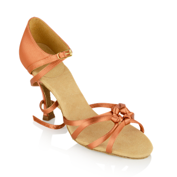 Obrazek 820-X Blizzard Xtra | Dark Tan Satin | Ladies Latin Dance Shoes