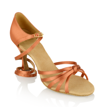 Imagen de 825-X Drizzle Xtra | Dark Tan Satin | Ladies Latin Dance Shoes