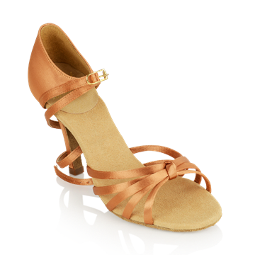 Obrazek 825-X Drizzle Xtra | Light Tan Satin | Stiletto Heel | Ladies Latin Dance Shoes